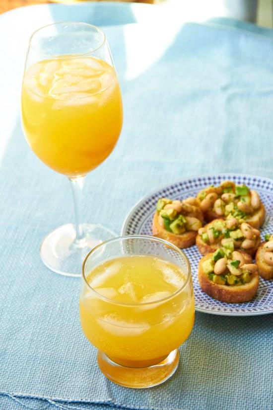 peach cocktail and mocktail plus cannellini bean and avocado crostini mia 1
