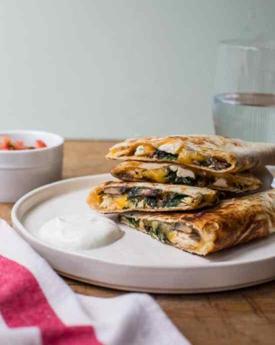Spinach, Mushroom, and Chicken Quesadillas