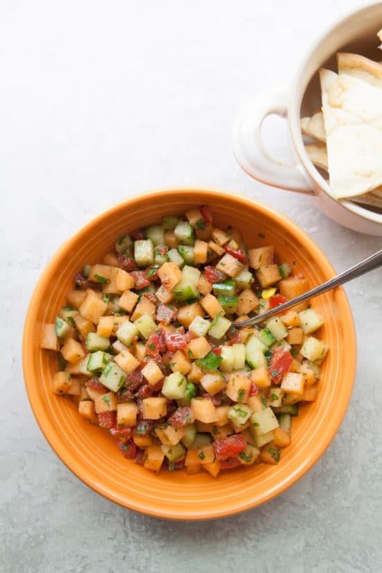 Corn, Cucumber and Cantaloupe Salsa / Photo by Kerri Brewer / Katie Workman / themom100.com