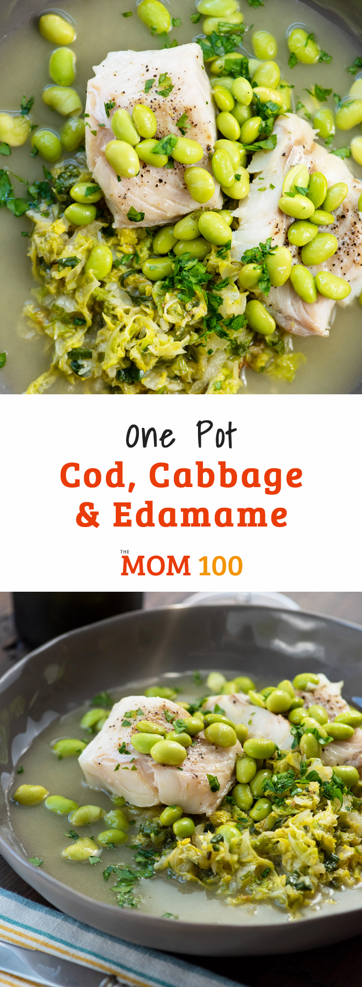 One Pot Cod, Cabbage and Edamame is a perfect light dinner.  Make this when you need something simple and healthy (but pretty and elegant as well!).