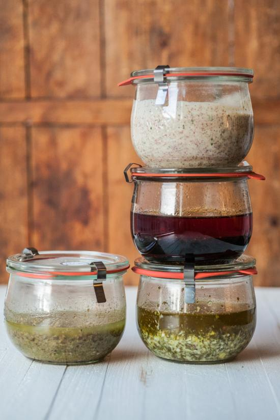 4 marinades in jars