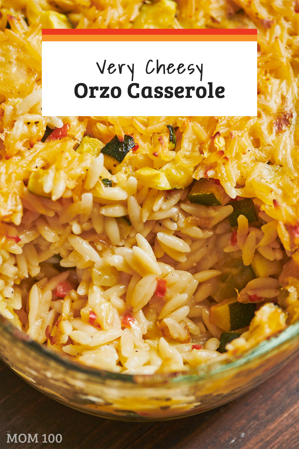 Very Cheesy Orzo Casserole: A small-pasta take on macaroni and cheese, with some vegetables built in for peace of color and texture.  And also for some justification and peace of mind, because you know, all that wonderful cheese. #sidedish #macandcheese