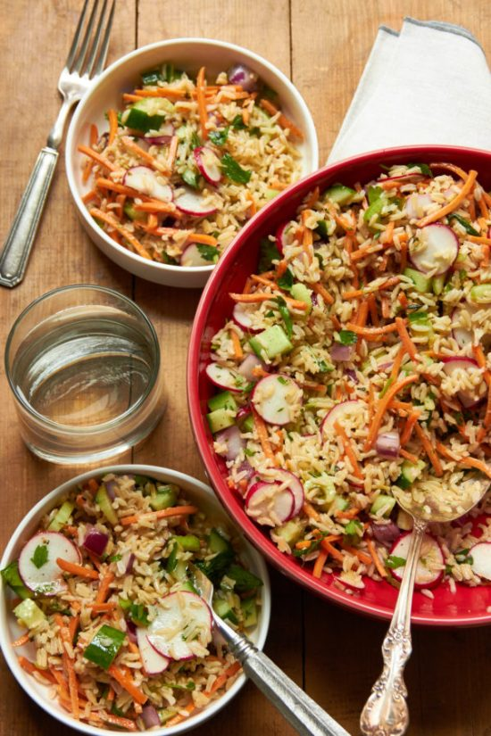 Vegetable and Brown Rice Salad with Honey Lemon Dressing