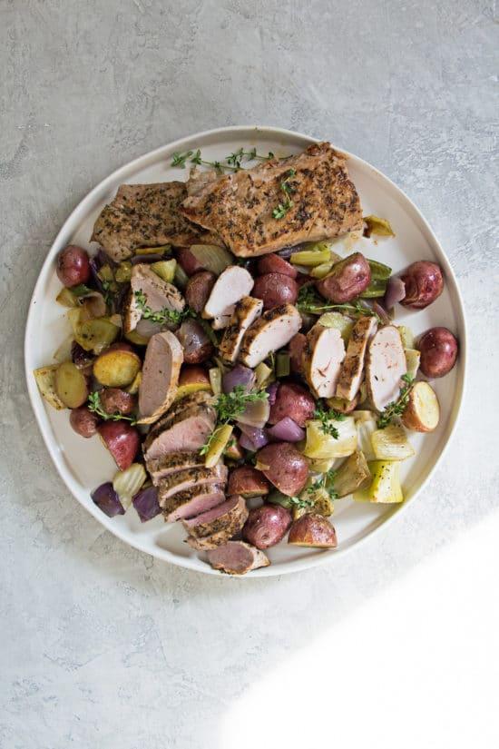 Mediterranean Pork Tenderloin with Roasted Vegetables / Photo by Mandy Maxwell / Katie Workman / themom100.com