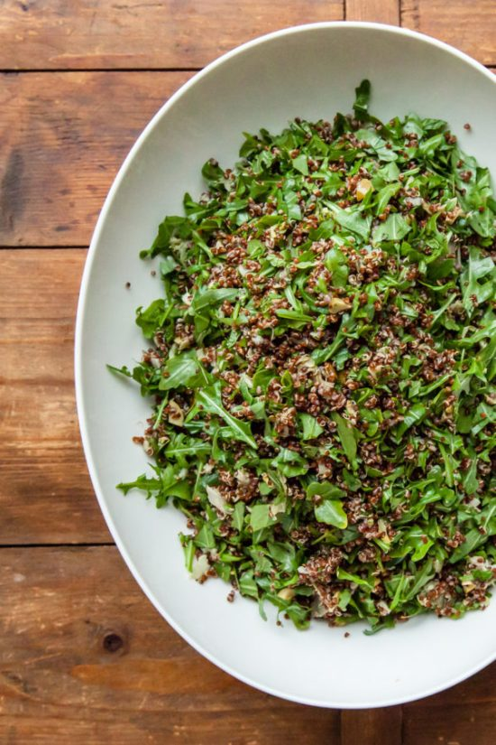 Red Quinoa Salad with Arugula, Artichoke Hearts, and Olives / Carrie Crow / Katie Workman / themom100.com