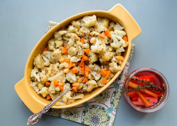 Sauteed and Braised Cauliflower with Mustard Seeds and Green Peppercorns / Luci Beni / Katie Workman / themom100.com