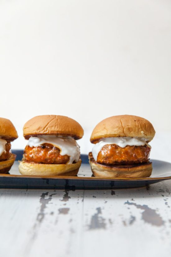 Buffalo Turkey Burger Sliders / Carrie Crow / Katie Workman / themom100.com