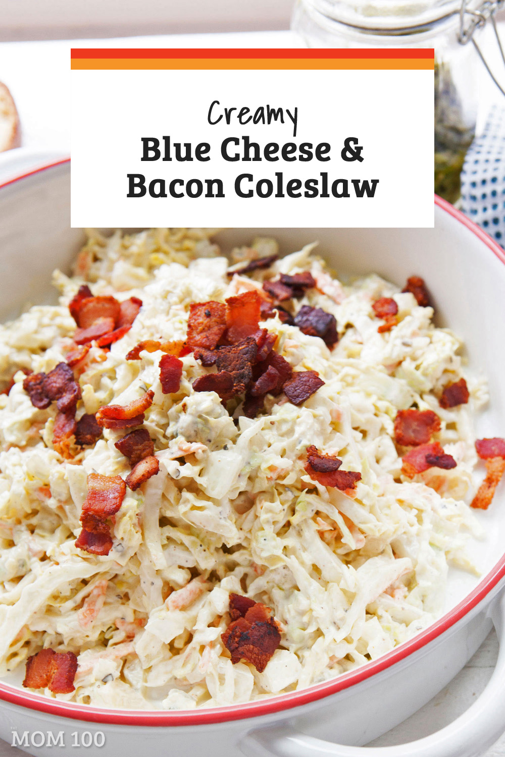 Creamy and rich, topped with crumbled bacon, this Creamy Blue Cheese and Bacon Coleslaw packs a lot of punch in term of flavor and texture. #summer #summerrecipe #coleslaw #sidedish