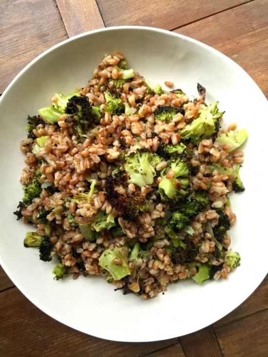 Farro with Grilled Broccoli and Sweet Onions Katie Workman/themom100.com