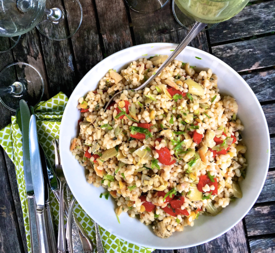 Artichoke, Feta and Roasted Pepper Couscous Salad from Katie Workman / themom100.com