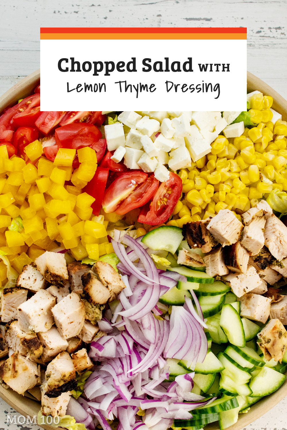Chopped Salad with Chicken, Tomatoes and Lemon Thyme Dressing: This was one of the best chopped salads I\'ve ever made—just that perfect summer lunch. #salad #healthy #summersalad