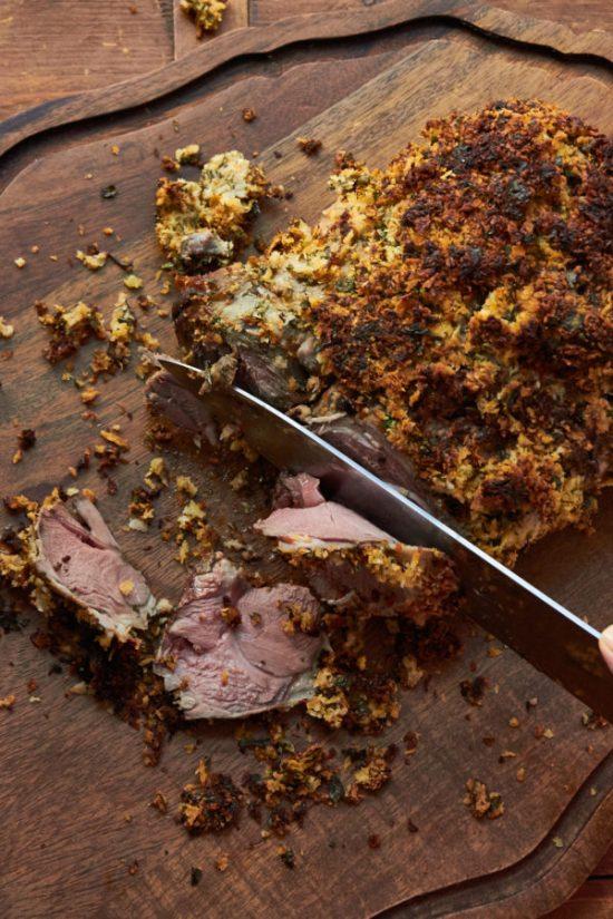 Herbed Boneless Leg of Lamb with Mustard Crust