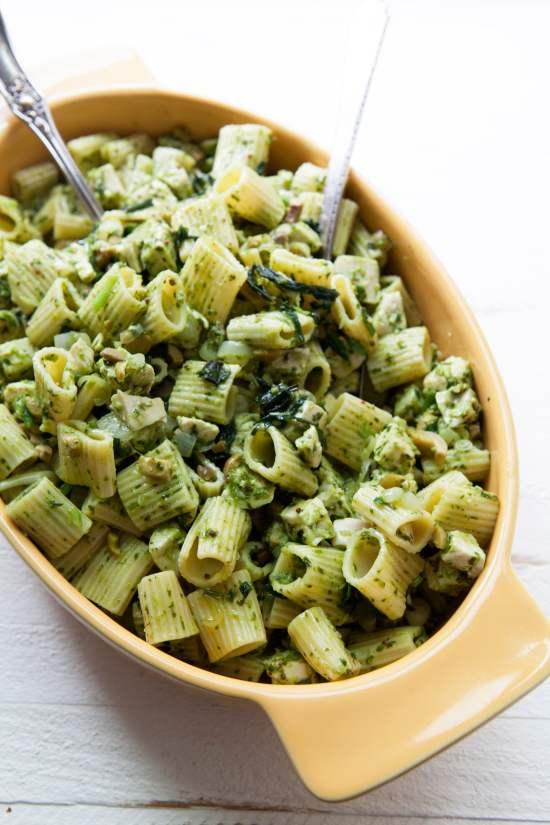 Pasta Salad with Chicken, Green Olives, & Ramp Vinaigrette / Photo by Kerri Brewer / Katie Workman / themom100.com