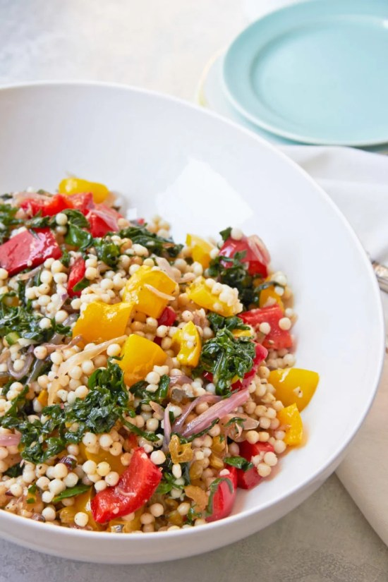 Mediterranean Couscous, Swiss Chard and Peppers / Mia / Katie Workman / themom100.com