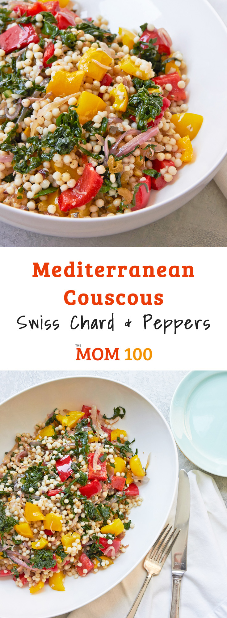 This Mediterranean Couscous, Swiss Chard and Peppers is a fantastic and beautiful side dish. I love the rainbow chard, but you can use other varieties.