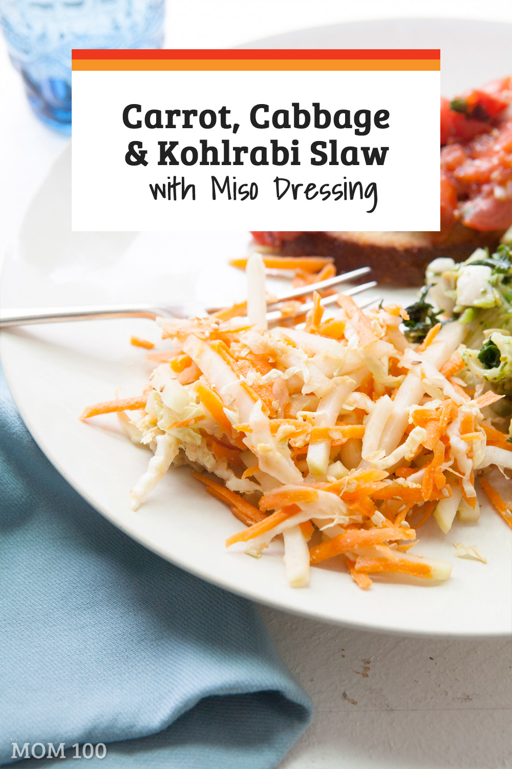 This crunchy and colorful Carrot, Cabbage and Kohlrabi Slaw recipe is inspired by ginger-miso dressing found in Japanese restaurants.