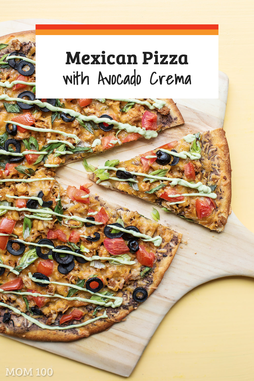 Mexican Pizza with Avocado Crema / Pizza heads south of the Border (don\'t miss the avocado crema drizzle). #pizza