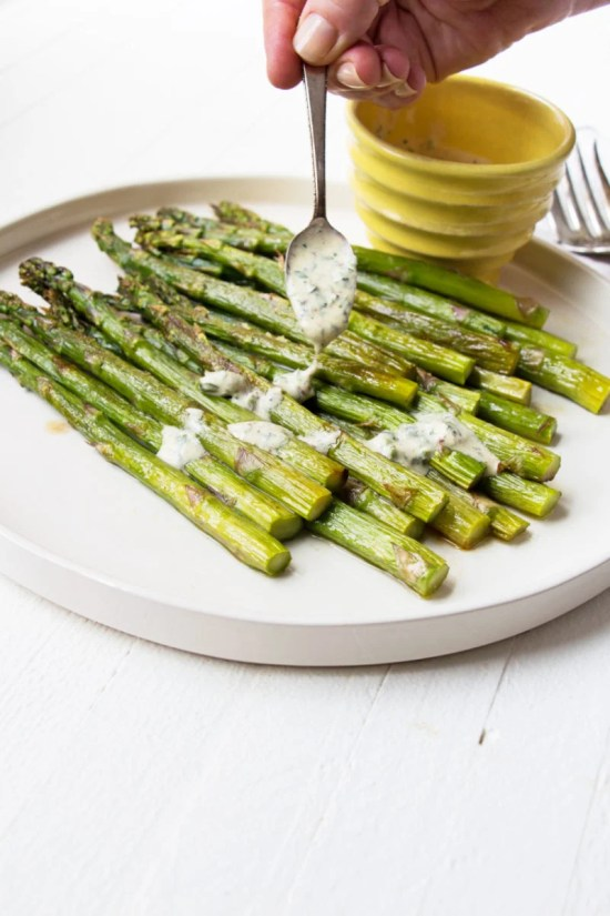 Roasted Asparagus with Creamy Mustard-Oregano Sauce / Mia / Katie Workman / themom100.com