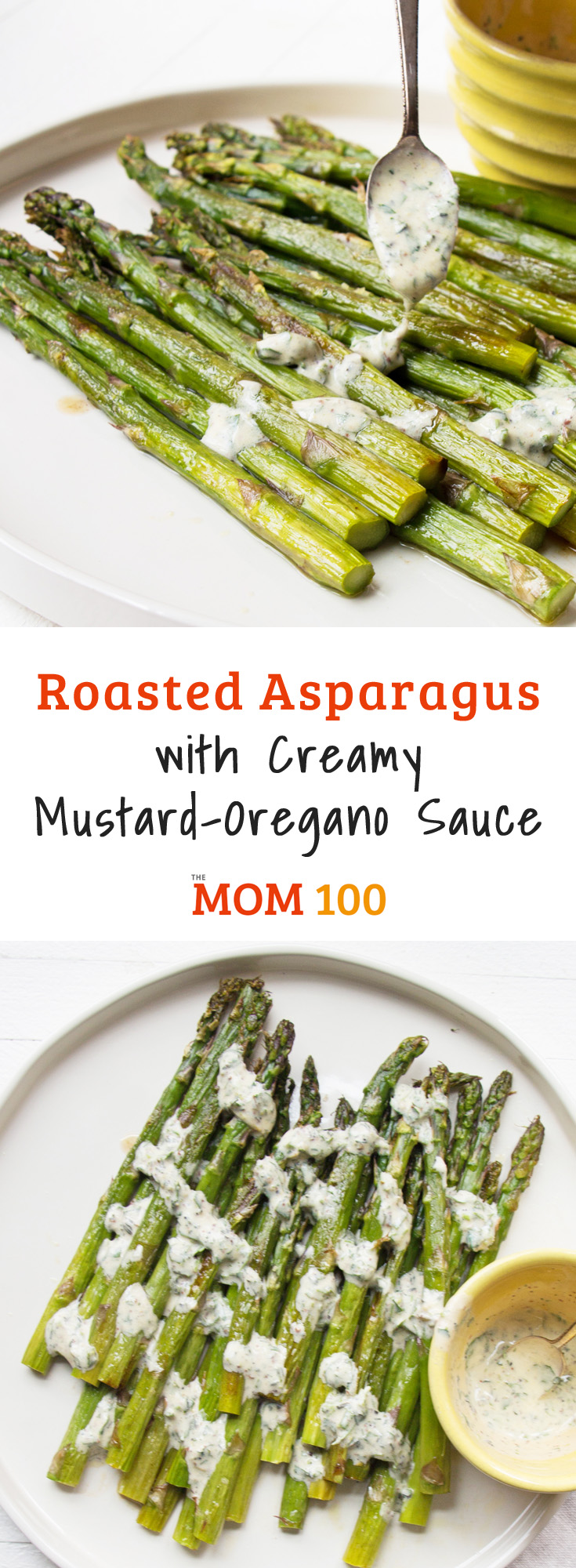 Roasted Asparagus with Creamy Mustard-Oregano Sauce