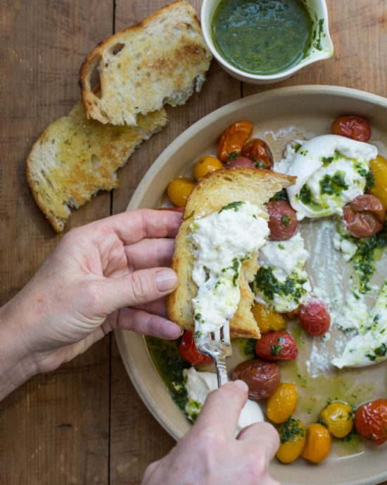 Roasted Cherry Tomatoes with Burrata and Basil Oil / Sarah Crowder / Katie Workman / themom100.com
