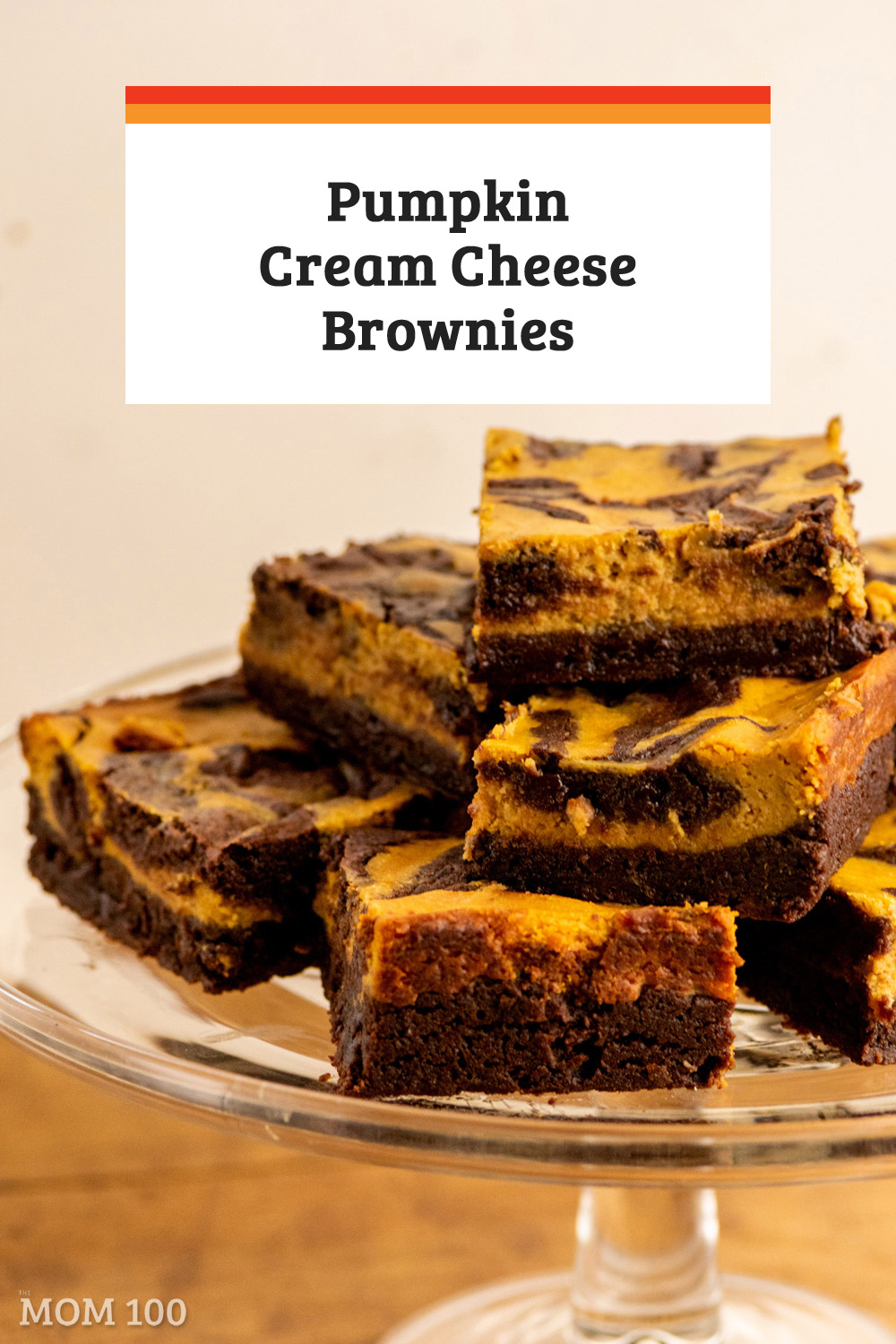 Pumpkin Cream Cheese Brownies—the bottom layer is a fudgy brownie; the top layer is a creamy pumpkin cheesecake, scented with those great fall spices.