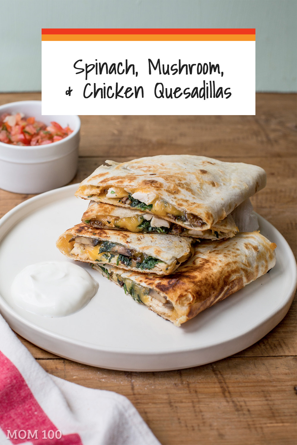 Spinach, Mushroom, and Chicken Quesadillas Recipe:  A substantial and delicious combo, an all-in-one-meal quesadilla.  Serve with salsa and sour cream.