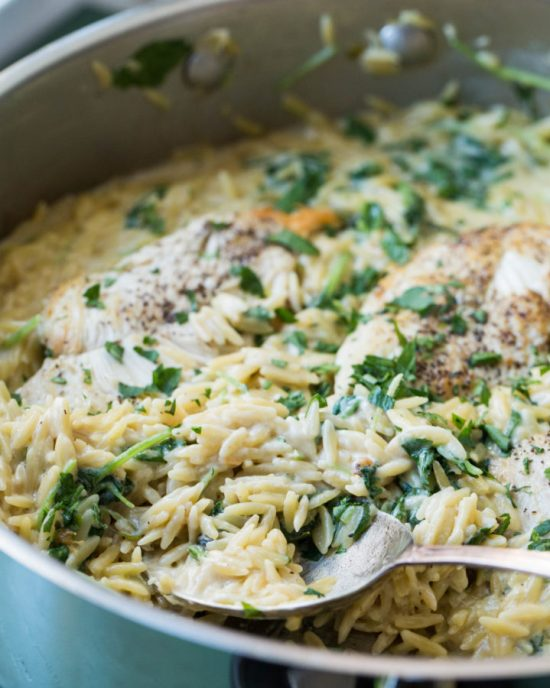 Cheesy Chicken and Orzo / Saral Crowder / Katie Workman / themom100.com