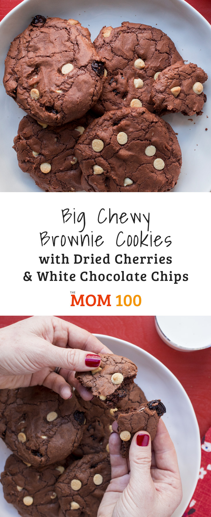 Dried cherries add sweet-tart chewiness, and white chocolate add texture to these Big Chewy Brownie Cookies with Dried Cherries and White Chocolate Chips.