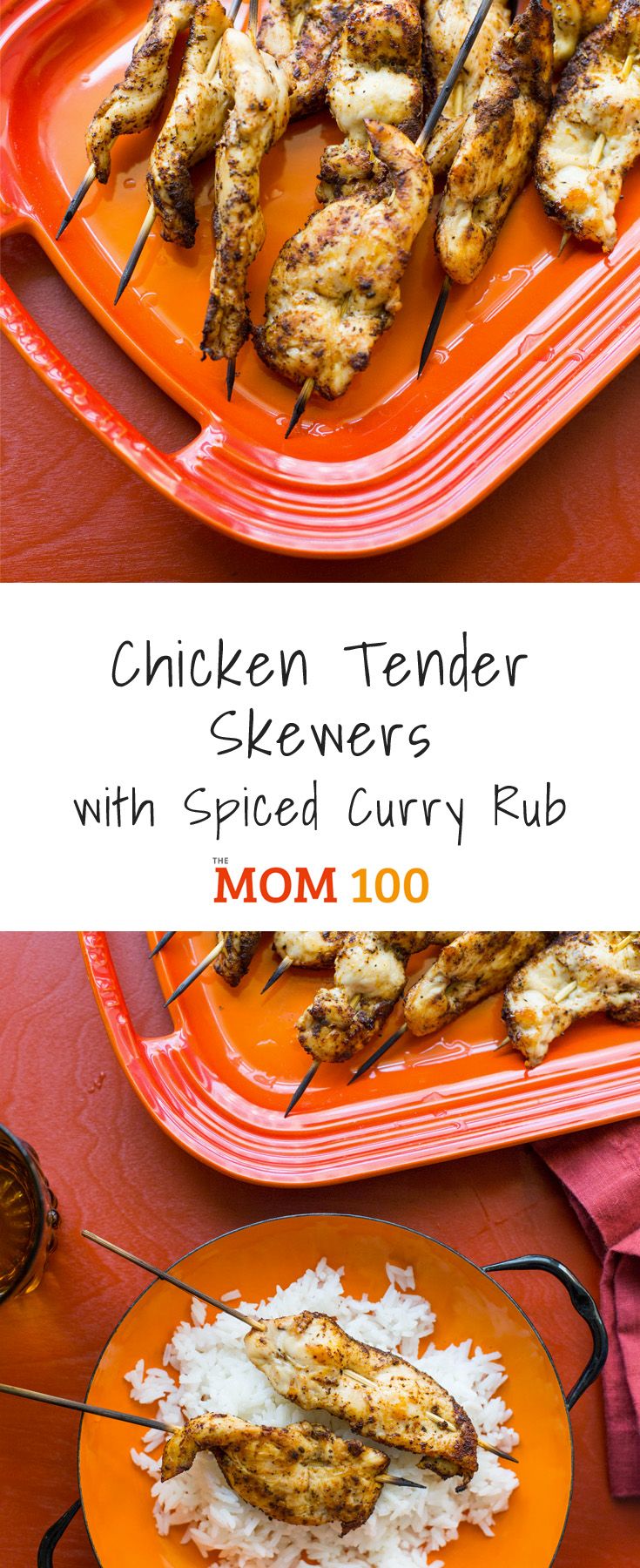 These Chicken Tender Skewers with Spiced Curry Rub have a nicely intense Indian-inspired spice rub coating, and would be lovely served with rice.