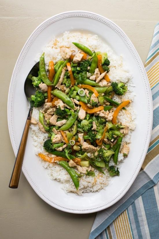 chicken stir fry with broccoli and sugar snap peas / Katie Workman / themom100.com