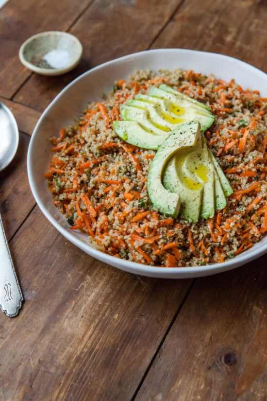 Sesame-Honey Quinoa and Carrot Salad with Sliced Avocado / Carrie Crow / Katie Workman / themom100.com