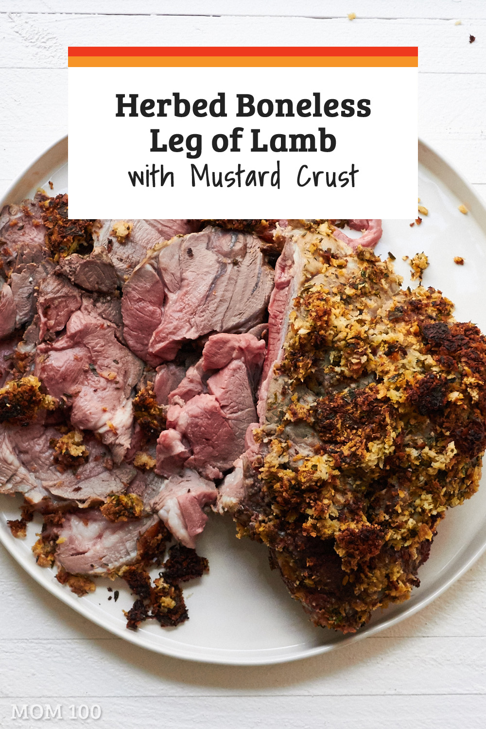 This Herbed Boneless Leg of Lamb with Mustard Crust was one of the lushest and well received roasts of meat I have made in ages. It was a showstopper. #dinner #lamb