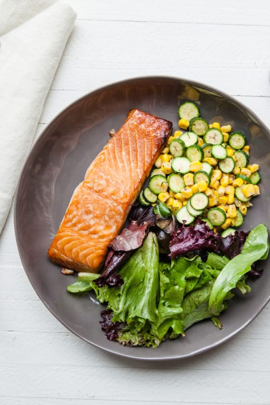 Simple Asian Salmon with Sautéed Corn and Zucchini / Carrie Crow / Katie Workman / themom100.com