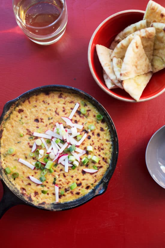 Hot Corn Queso Dip / Katie Workman / themom100.com / Photo by Luci Beni