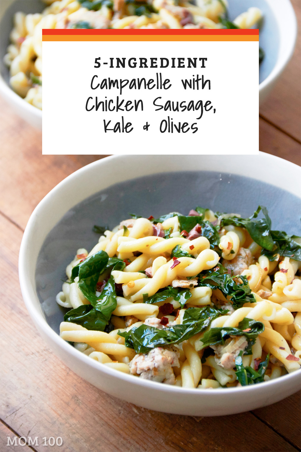Campanelle with Chicken Sausage, Kale and Olives: A hearty 5-ingredient pasta, but a bit less heavy than you might expect as chicken sausage is used instead of the more typical pork sausage. #pasta
