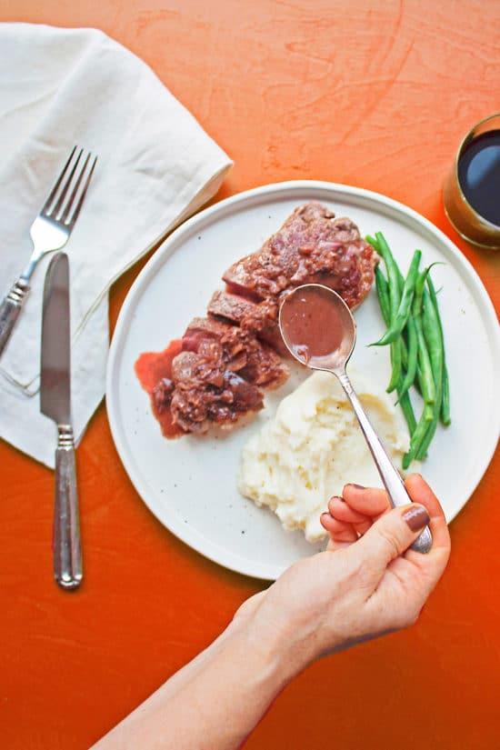 Traditional Steak Diane Recipe / Katie Workman / themom100.com / Photo by Laura Agra