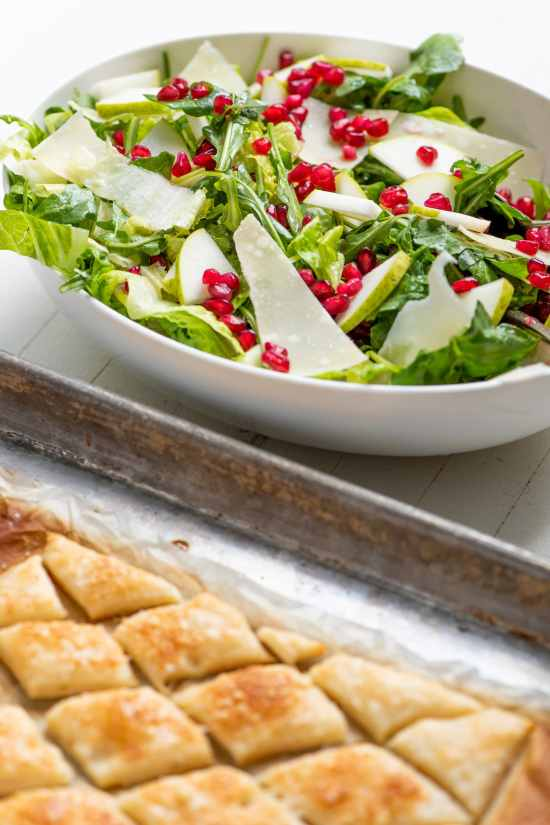 Green Salad with Pomegranate Seeds / Katie Workman / themom100.com / Photo by Cheyenne Cohen
