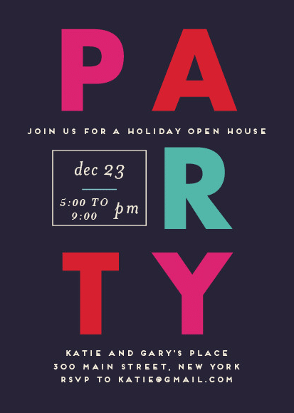 How to Throw a Holiday Open House Party - Invitation