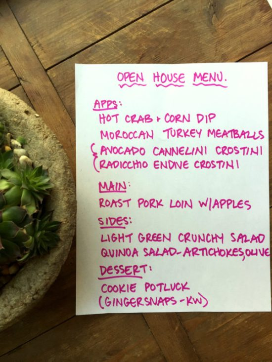 Holiday Open House - Menu