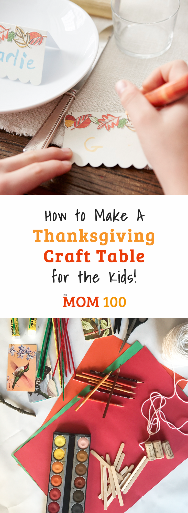 Put together a Fun Thanksgiving Craft Table for the Kids where they can keep themselves occupied and craft to their hearts\' content.