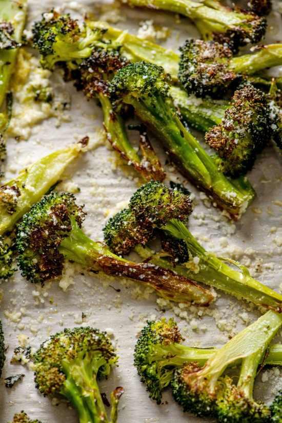 Closeup of Parmesan Roasted Broccoli on a sheet pan