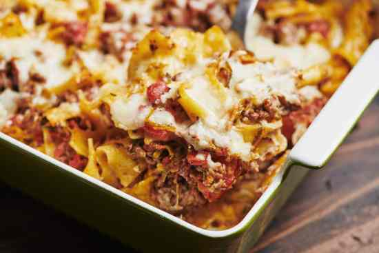 Beef and Three Cheese Noodle Casserole