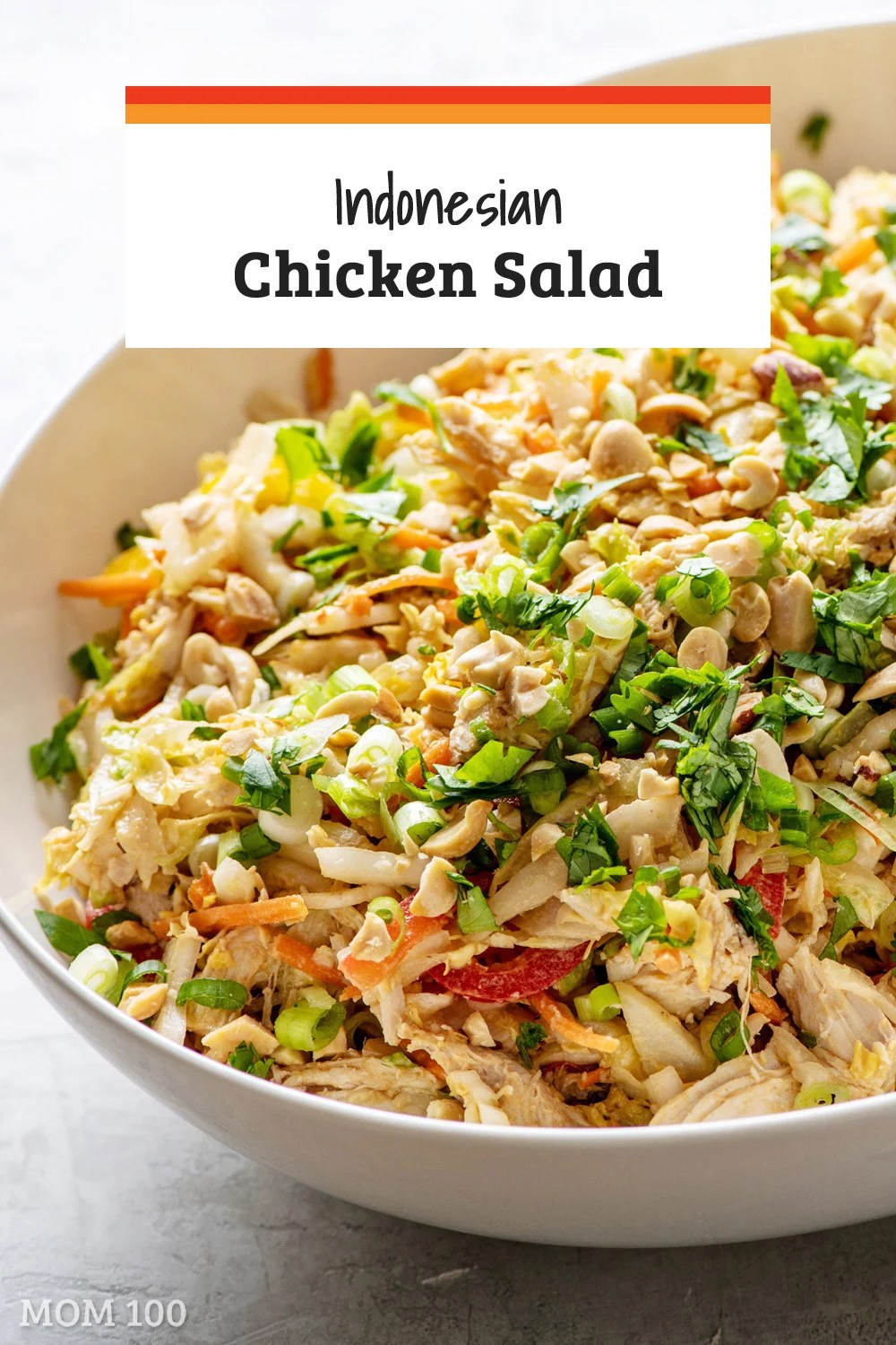 Indonesian Chicken Salad / A collection of amazing Asian flavors come together in this salad. Crunchy vegetables stand up to the tender chicken and a creamy, spicy peanut dressing.
