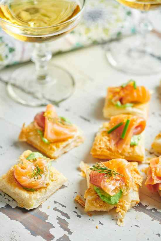 Smoked Salmon and Crème Fraiche Puff Pastry Tartlets