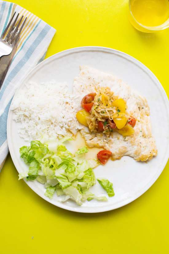 Chicken with Tomato and Leek Pan Sauce with Jasmine Rice