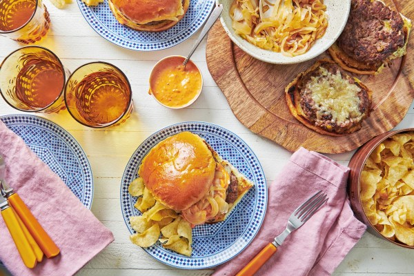 Spanish Lamb Burgers with Romesco Sauce and Caramelized Onions