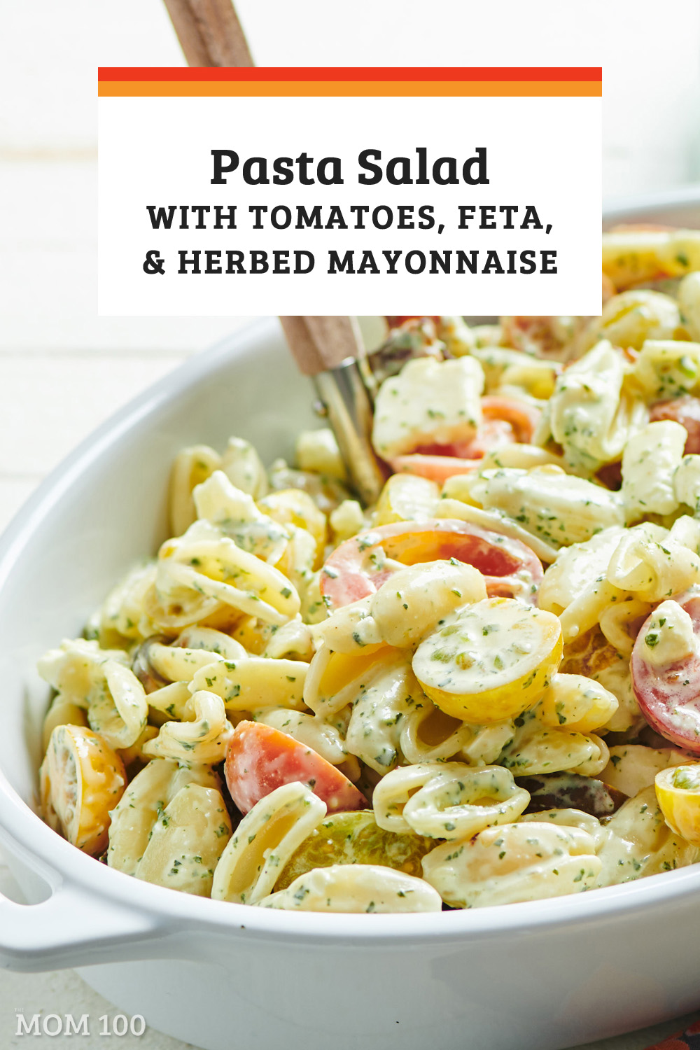 Pasta Salad with Tomatoes, Feta and Herbed Mayonnaise: A quick summery meal that can be made ahead. Skip the bacon for a vegetarian side. #pastasalad #summer