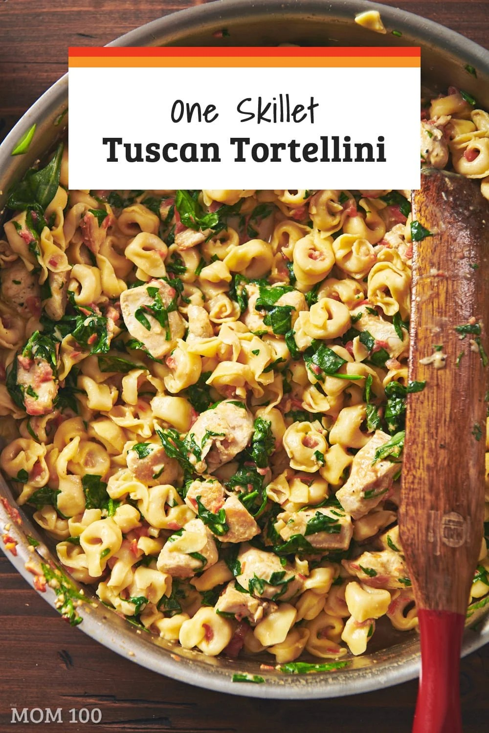 One Skillet Tuscan Tortellini: This filled pasta recipe is colorful with spinach and tomatoes, and lush with a nice pour of cream.
