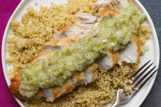 Pan-Seared Chicken Breasts with Roasted Tomatillo Salsa