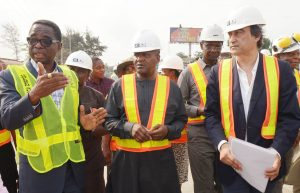 L-R:  Group Managing Director, Flour Mills of Nigeria Plc, Paul Gbededo; President/CE, Dangote Industries Limited, Aliko Dangote;  Managing Director, AG-Dangote Construction Company Limited; and Acting Group Managing Director, Dangote Sugar Refinery Plc, Engr, Abdullahi Sule, on the road inspection of Apapa-Wharf Road under construction by AG-Dangote Construction Company…on Wednesday